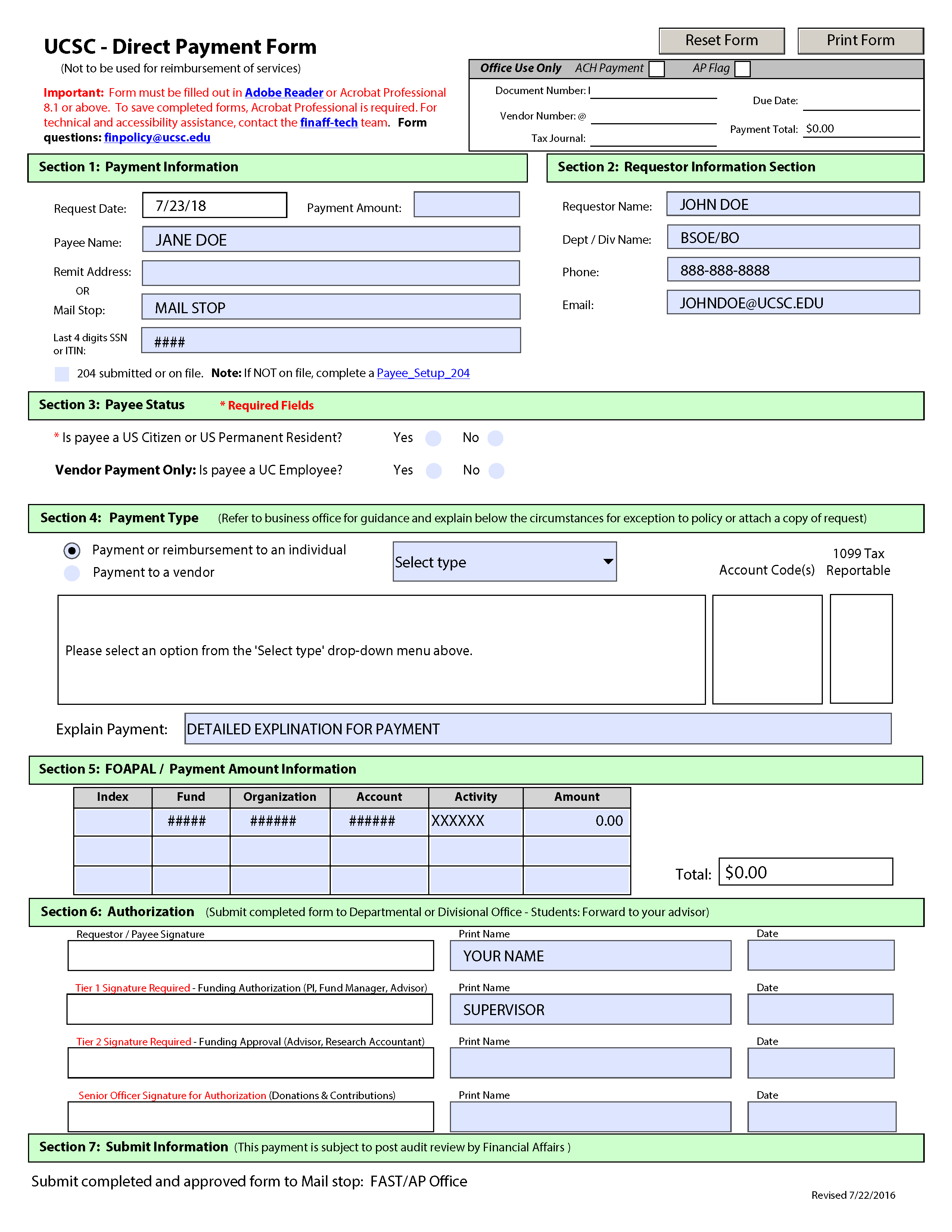 Example of Direct Payment Form