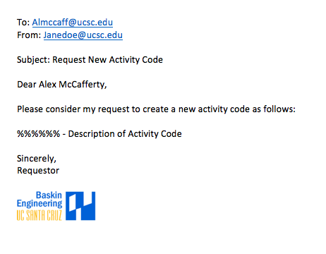 Example of Activity Code Request Email