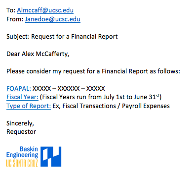 Example of a Financial Report Request Email